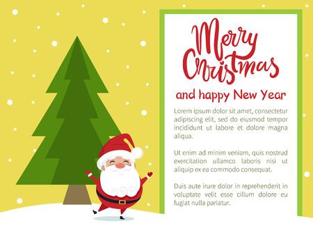 Merry Christmas and Happy New Year poster with Santa dancing near evergreen spruce or fir tree, greeting card design with frame place for text vector