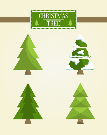 Christmas Tree Types Set Of Icons Evergreen Pine Covered With