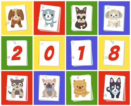 New Year 2018 Symbol Dog Vector Illustration