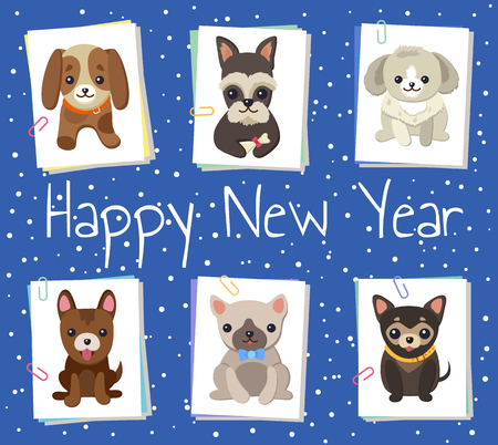 Happy New Year Pets Poster Vector Illustration