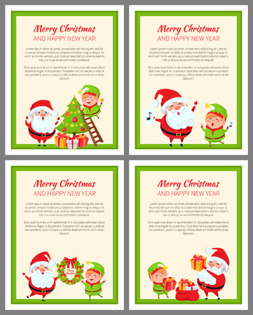 Set of Cards with Happy Santa and ridiculous Elf 向量圖像