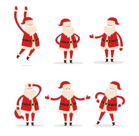ensemble de santa clauses dans différentes poses vecteur icône