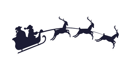 Santa Claus with Three Deer Vector Illustration