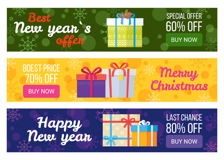 Colorful set of sale banners best price buy now vector illustration with beautiful gift boxes with color ribbons and bows isolated on snowy backgrounds