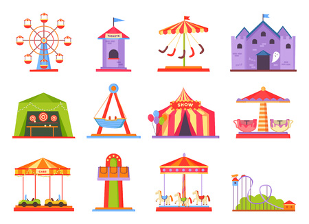Park of Attractions Collection Vector Illustration Imagens