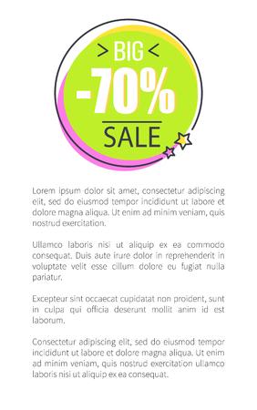 Big 70 Sale Round Promo Sticker in Circle Price