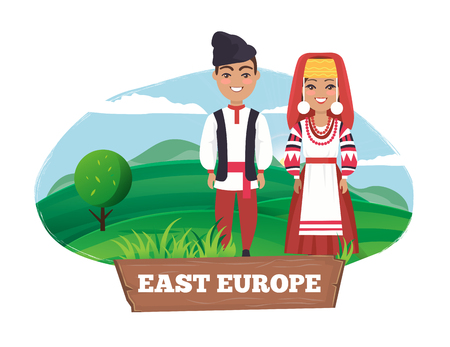 East Europe Man and Women on Vector Illustration Ilustração