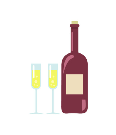 Unopened Wine and Two Glasses Vector Illustration