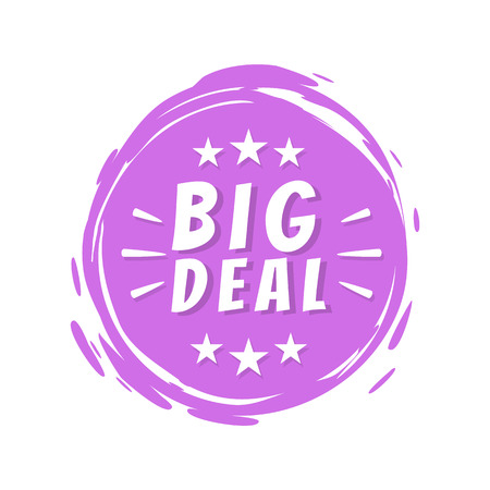 Big Deal Text on Purple Painted Spot Brush Stroke