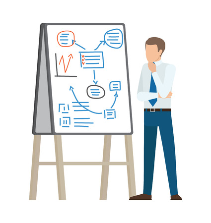 Businessman Thinking on Plan Vector Illustration