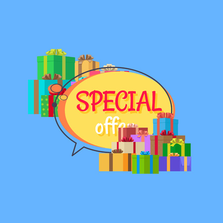 Special Offer Free Gifts Poster with Decor Boxes Illustration