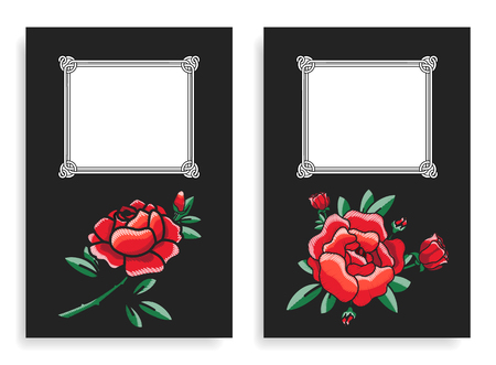 Roses and frames posters set, flowers placed below filling forms for putting own text on vector illustration isolated on black background