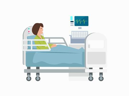 病院のベッドの上の女性アイコンイラスト。