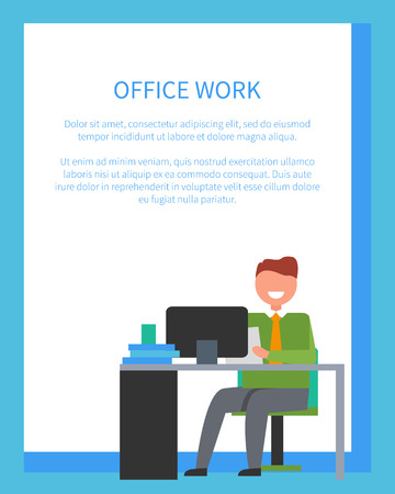 Office Work Bright Poster Illustration.