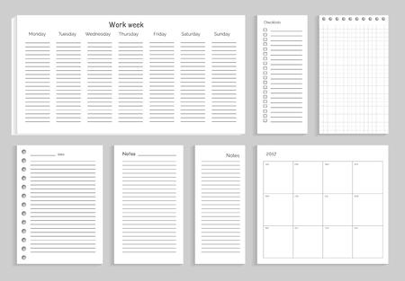 Set of Notes Work Week on illustration.