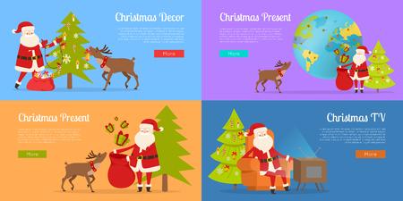 クリスマスの装飾とサンタクロースとのプレゼント。