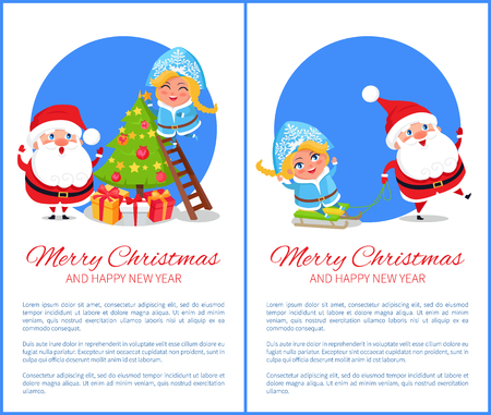 Merry Christmas and happy New Year, Santas life and preparations to winter holidays celebrations, Claus and Snow Maiden, vector illustration Ilustração