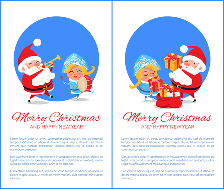 Merry Christmas and Happy New Year posters with Santa and Snow Maiden playing on trumpet and drum, put presents into red sack vector cartoon characters