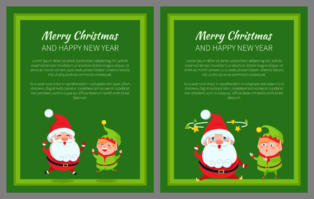 Merry Christmas and Happy New Year poster with Santa stars move over head and elf merrily jumping vector illustration web banners with text on green