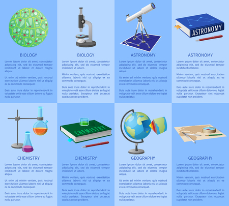 School subjects poster with molecule model, modern optical devices, thick textbooks, glass flasks, globe model and world map vector illustrations.
