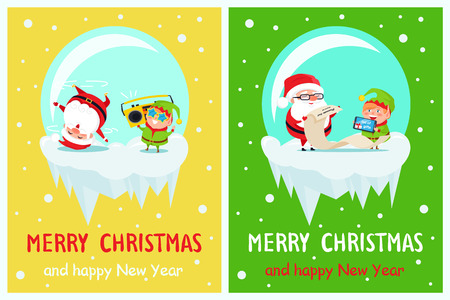 Happy New Year Merry Xmas Postcard Santa and Elf.