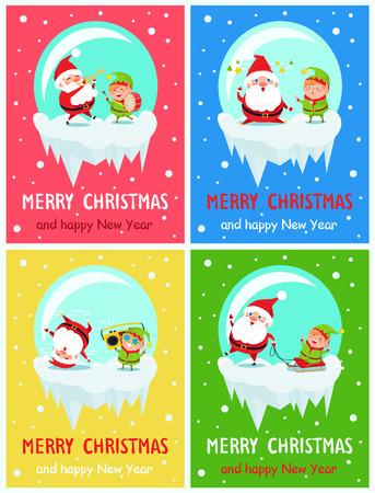 메리 크리스마스와 해피 뉴가 어 인사말 카드 디자인. 일러스트