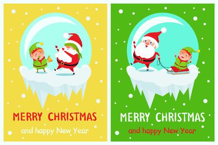 メリークリスマスとハッピーニューイヤーグリーティングカード。  イラスト・ベクター素材