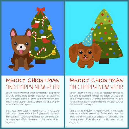 메리 크리스마스 개 그림의 집합입니다.