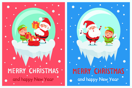 Merry Christmas Happy New Year Poster Santa Elf. Stock Vector - 91782603