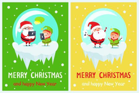 Prettige kerstdagen en gelukkig Nieuwjaar twee posters Kerstman en elf met behulp van gadgets en zingen in glazen kommen vector geïsoleerd op groen en geel met sneeuwval.