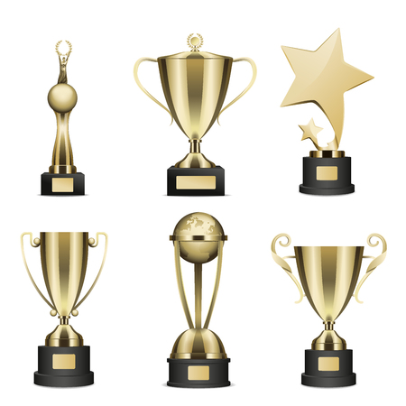 Golden Trophy Cups Realistic Collection. Иллюстрация