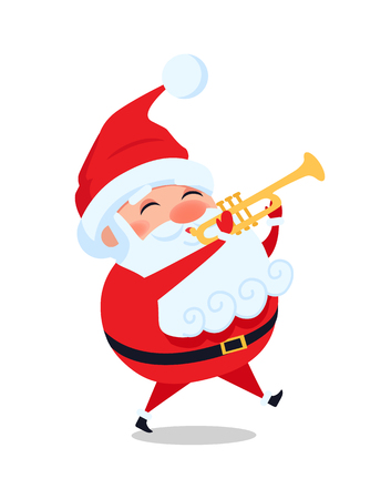 Santa Playing on Trumpet, Cute Christmas Father. Vectores