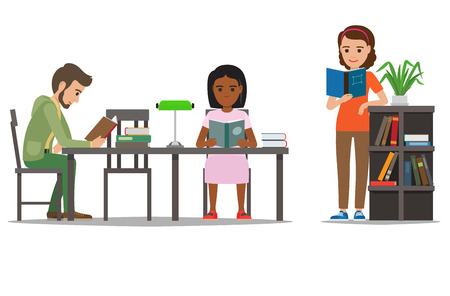 People reading textbooks in library. Man and woman seating at the table and standing with open book in hand isolated flat vector. Enthusiastic readers illustration for educational and hobby concept Illustration