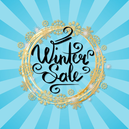 Winter sale poster in decorative frame made of silver and golden snowflakes and round circles, snowballs of gold in x-mas border isolated on blue with rays Zdjęcie Seryjne - 91759206