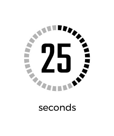 Close-up do temporizador digital mostrando o tempo que está se esgotando, apenas 25 segundos restantes, relógio na ilustração vetorial, isolado no fundo branco