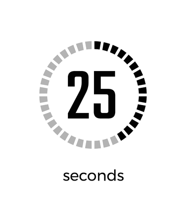 Close up of digital timer showing time that is running out, only 25 seconds left, clock on vector illustration, isolated on white background