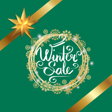 Winter Sale Poster in Frame Made of Snowflakes.