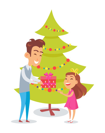 Father Congratulates Daughter in Christmas Holiday. Ilustração