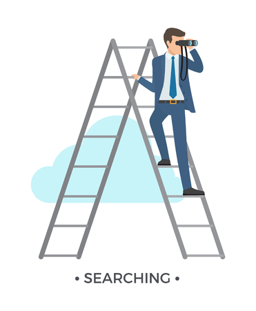 Searching Man and Ladder Illustration.