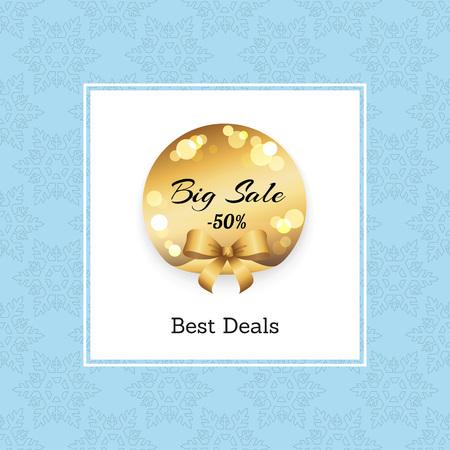 Best Big Sale -50 Off Golden Round Label. Stock Vector - 91782743