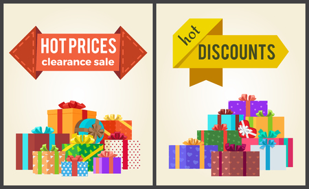 Hot Prices Discounts Clearance Sale Arrow Labels Illustration. Illustration