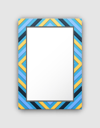 Picture frame with blue border and abstract design. Illustration