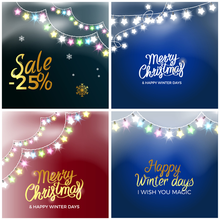 Christmas sale set of four posters with discount offers. Illustration