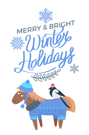 Merry and Bright Winter Holidays Poster Horse Bird