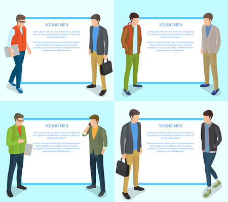 Young Men Collection of Illustration on Light Blue