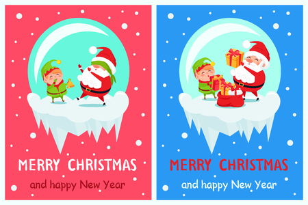 Happy New Year Merry Christmas posters set Santa and Elf on icy cliff playing hide-and-seek, put presents into red sack winter cartoon characters Illustration