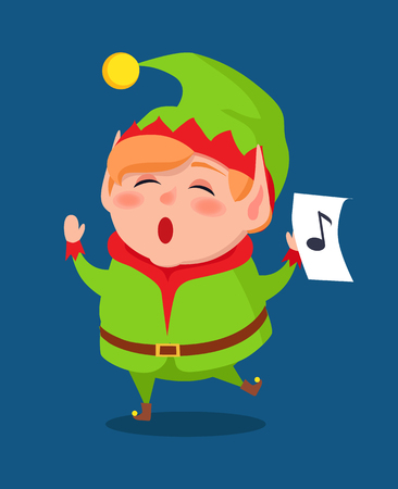 Cute elf singing carol songs, vector illustration of cartoon character with music sign on piece of paper isolated on blue background, musical singer hero