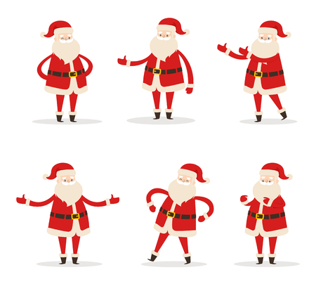 Set of Santa Clauses in different poses vector illustration icons of Saint Nicholas character isolated on white background, Santa s emoticons stickers Illustration