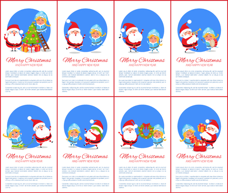 Merry Christmas and happy New Year, poster with additional explanatory text and lettering, Santa Claus and Snow Maiden isolated on vector illustration