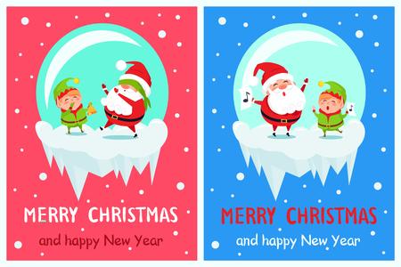 Postcard Merry Christmas Happy New Year Santa and Elf play hide-and-seek, singing carol songs vector cartoon characters in icy ball vector posters set Stock Vector - 91804712